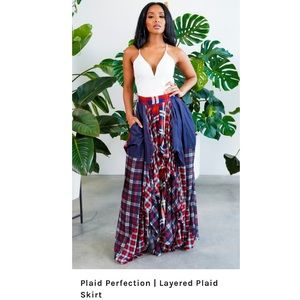 TOV HOLY The Damsel plaid mixprint long maxi skirt